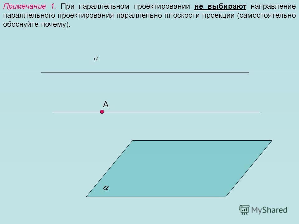 Примечание 1. При параллельном проектировании не выбирают направление параллельного проектирования параллельно плоскости проекции (самостоятельно обоснуйте почему). А а