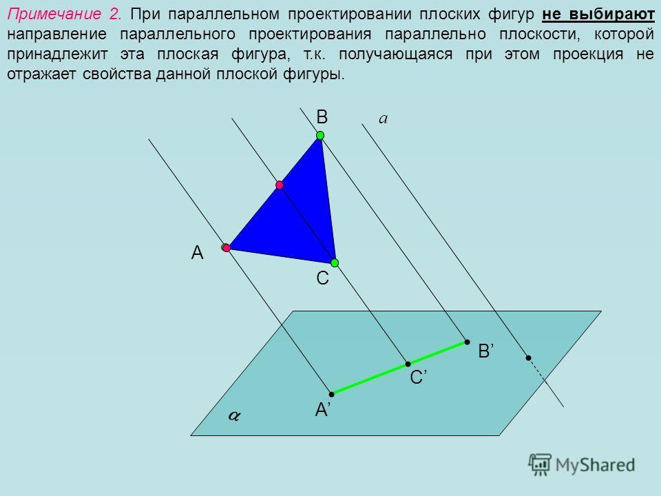 Примечание 2. При параллельном проектировании плоских фигур не выбирают направление параллельного проектирования параллельно плоскости, которой принадлежит эта плоская фигура, т.к. получающаяся при этом проекция не отражает свойства данной плоской фи