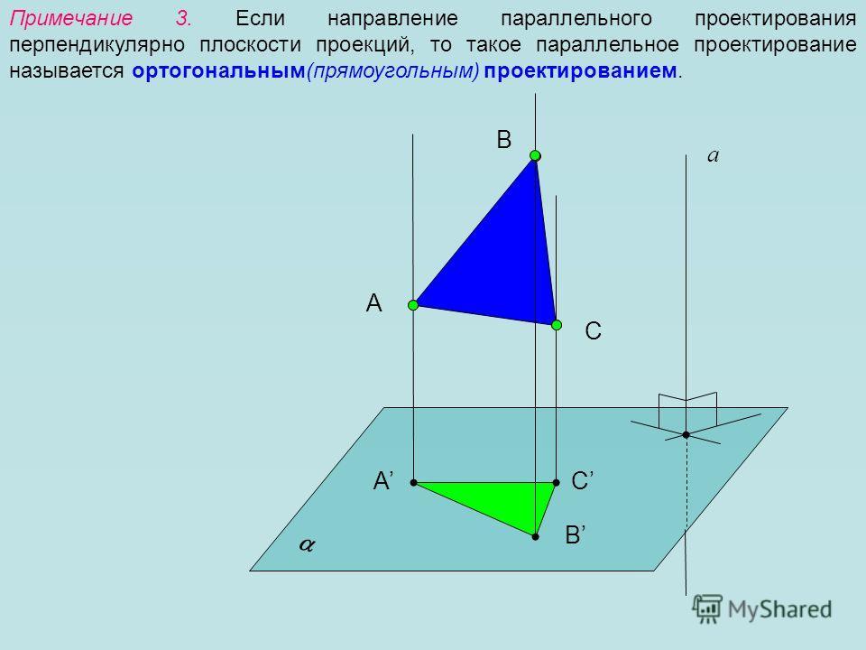 Примечание 3. Если направление параллельного проектирования перпендикулярно плоскости проекций, то такое параллельное проектирование называется ортогональным(прямоугольным) проектированием. А а B C А B C
