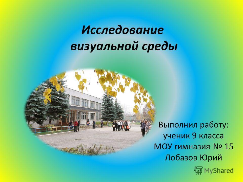 Исследование визуальной среды Выполнил работу: ученик 9 класса МОУ гимназия 15 Лобазов Юрий