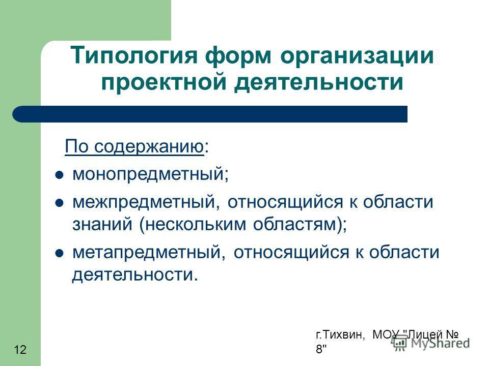 г.Тихвин, МОУ Лицей 8 12 Типология форм организации проектной деятельности По содержанию: монопредметный; межпредметный, относящийся к области знаний (нескольким областям); метапредметный, относящийся к области деятельности.