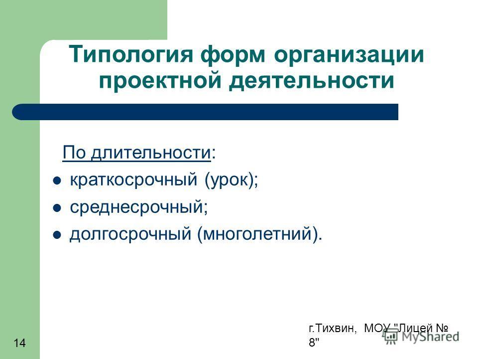 г.Тихвин, МОУ Лицей 8 14 Типология форм организации проектной деятельности По длительности: краткосрочный (урок); среднесрочный; долгосрочный (многолетний).