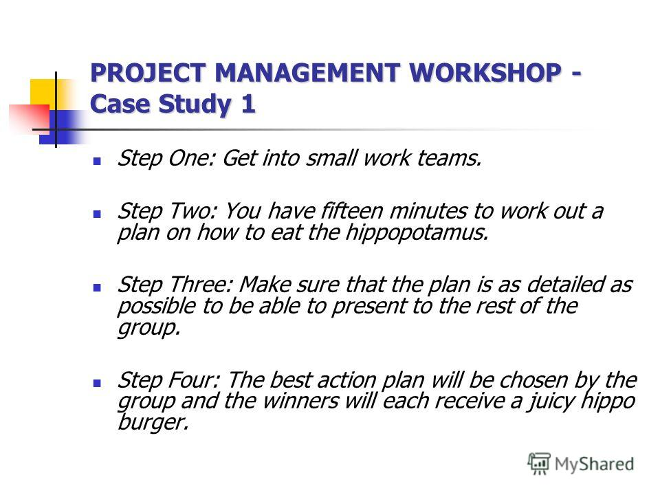 You realize that you are stranded with only a hippopotamus for food. You need a plan! PROJECT MANAGEMENT WORKSHOP - Case Study 1 You realize that you are stranded with only a hippopotamus for food. You need a plan!