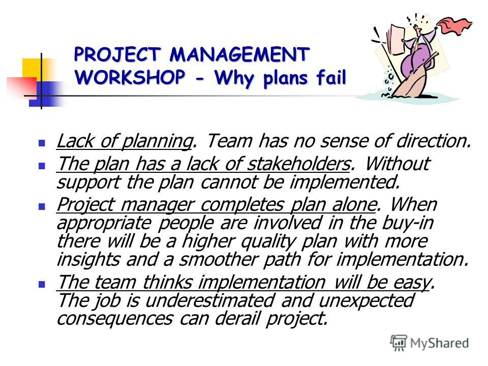 PROJECT MANAGEMENT WORKSHOP -the Project Manager To plan To organize To co-ordinate To control To lead It is essential that the project leader is a good communicator who can get a good influential sponsor. Promote the project and manage user expectat