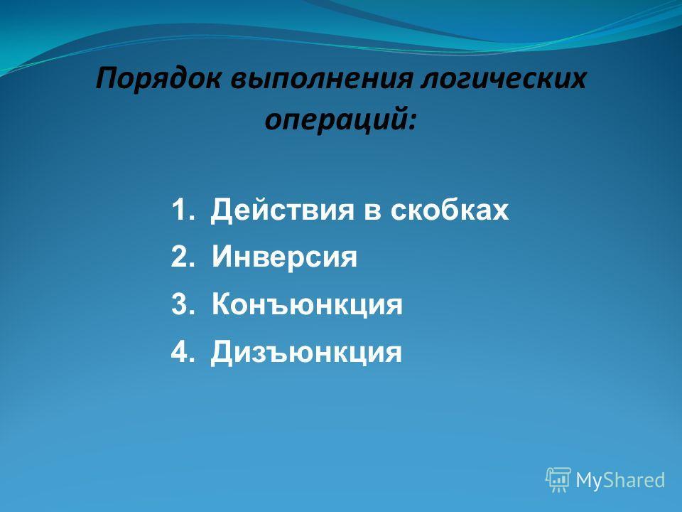 Порядок выполнения логических операций: 1.Действия в скобках 2.Инверсия 3.Конъюнкция 4.Дизъюнкция