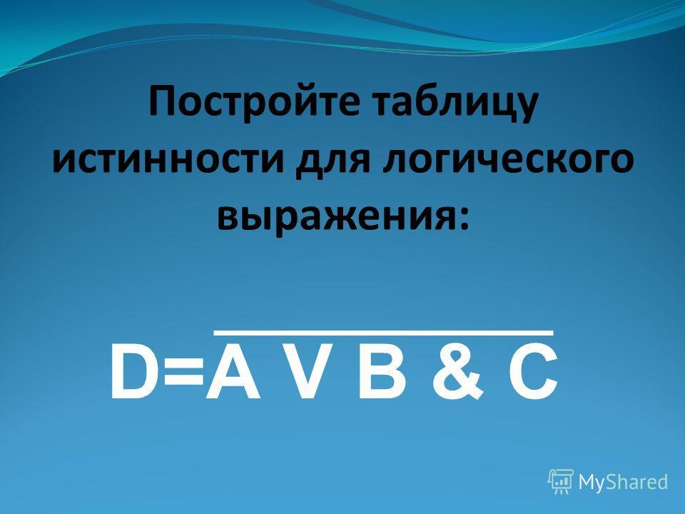 Постройте таблицу истинности для логического выражения: D=А V B & C
