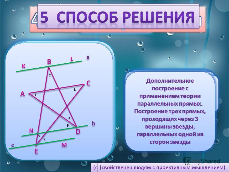 B B D D A A F F C C O O 1 1 2 2 3 3 4 4 5 5 ЗадачаЗадача Дано: АВСDF – звезда Найти: 1, 2, 3, 4, 5 Дано: АВСDF – звезда Найти: 1, 2, 3, 4, 5 B B D D A A F F C C O O 1 1 2 2 3 3 4 4 5 5 Дополнительное построение с применением теорем о сумме внутренних