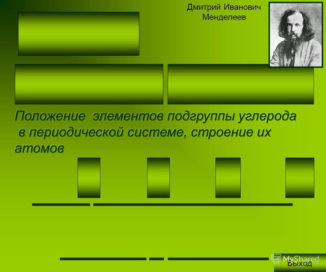Дмитрий Иванович Менделеев Выход