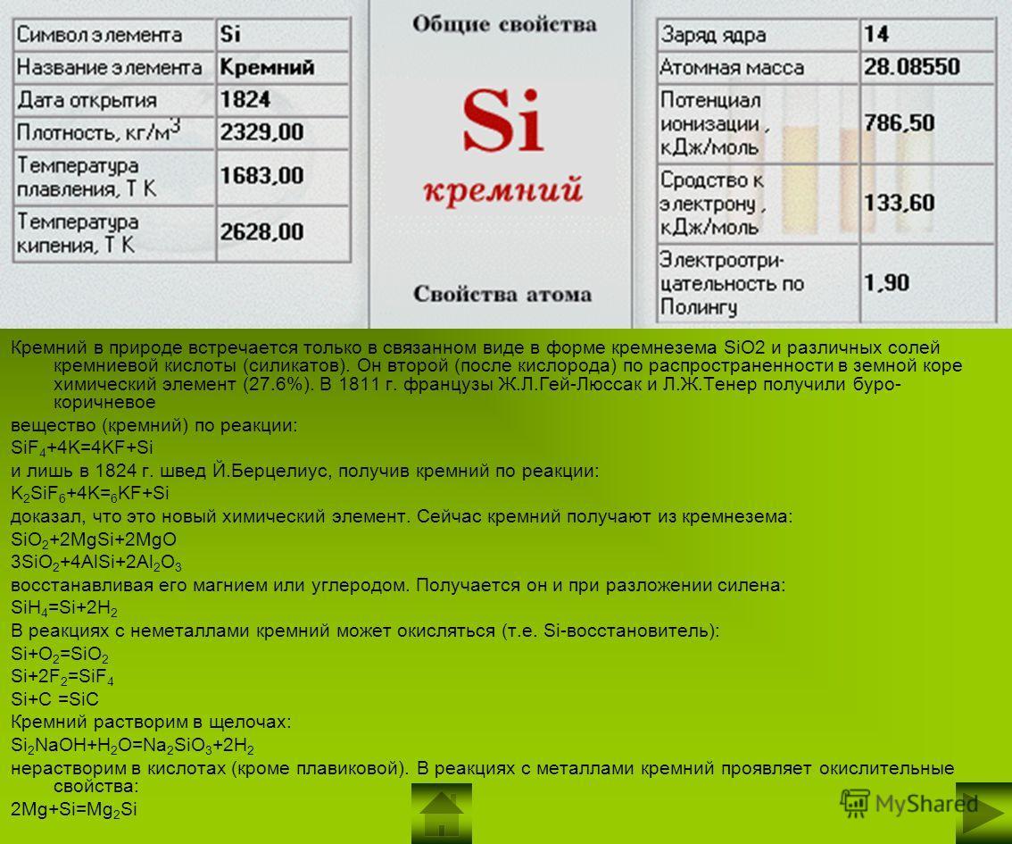 Кремний в природе встречается только в связанном виде в форме кремнезема SiO2 и различных солей кремниевой кислоты (силикатов). Он второй (после кислорода) по распространенности в земной коре химический элемент (27.6%). В 1811 г. французы Ж.Л.Гей-Люс
