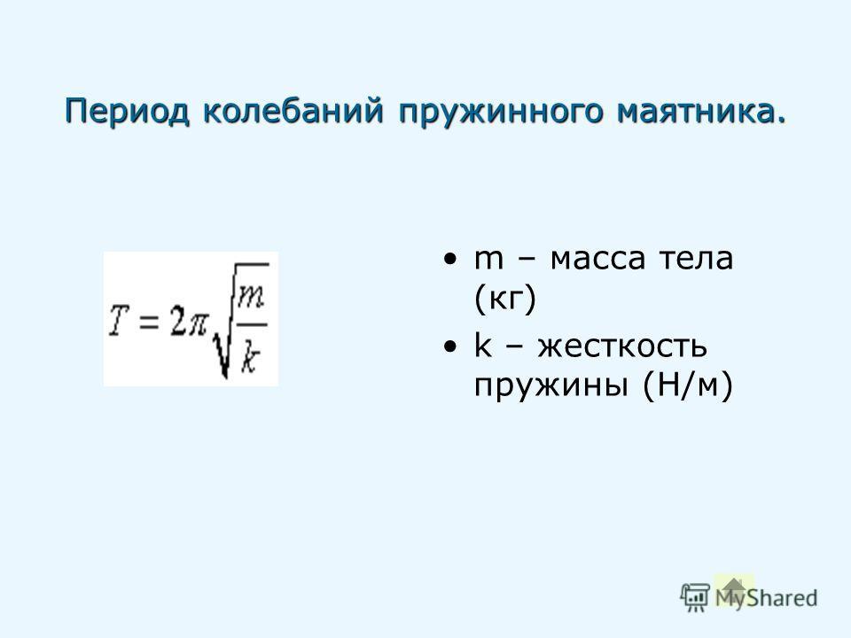 Период колебаний пружинного маятника. m – масса тела (кг) k – жесткость пружины (Н/м)