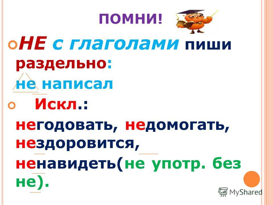 ПОМНИ! НЕ с глаголами пиши раздельно: не написал Искл.: негодовать, недомогать, нездоровится, ненавидеть(не употр. без не).