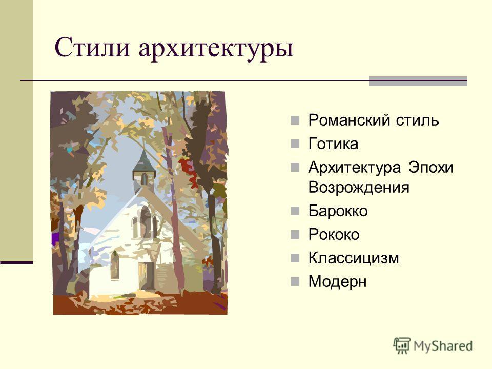 Стили архитектуры Романский стиль Готика Архитектура Эпохи Возрождения Барокко Рококо Классицизм Модерн