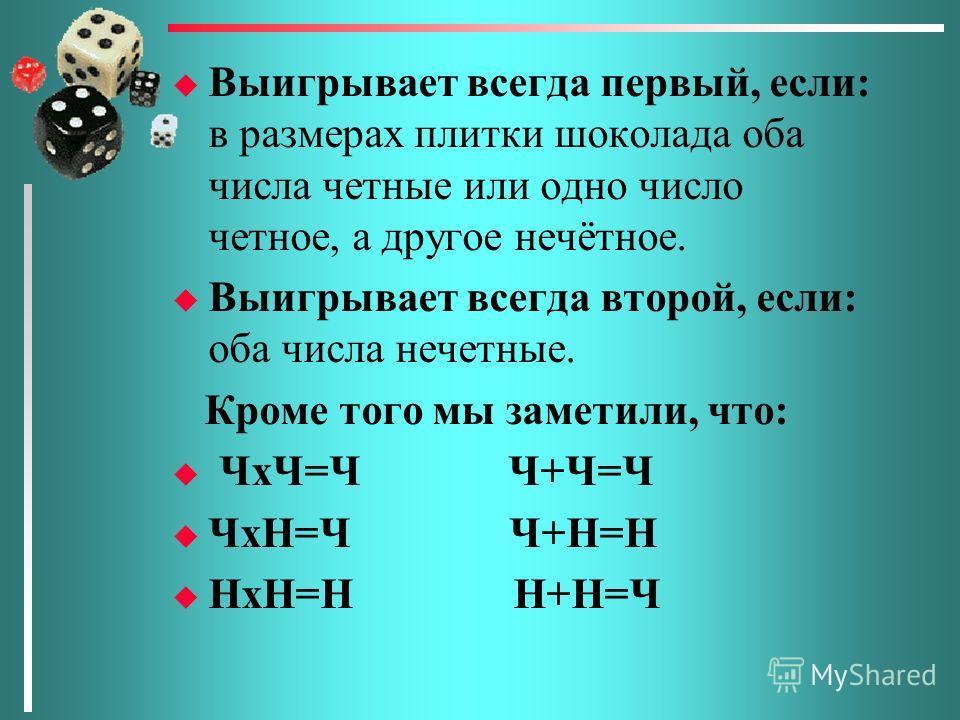 u Выигрывает всегда первый, если: в размерах плитки шоколада оба числа четные или одно число четное, а другое нечётное. u Выигрывает всегда второй, если: оба числа нечетные. Кроме того мы заметили, что: u ЧхЧ=Ч Ч+Ч=Ч u ЧхН=Ч Ч+Н=Н u НхН=Н Н+Н=Ч