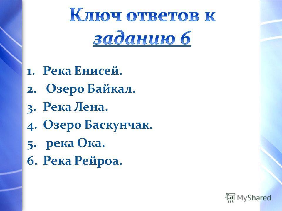 1.Река Енисей. 2. Озеро Байкал. 3.Река Лена. 4.Озеро Баскунчак. 5. река Ока. 6.Река Рейроа.