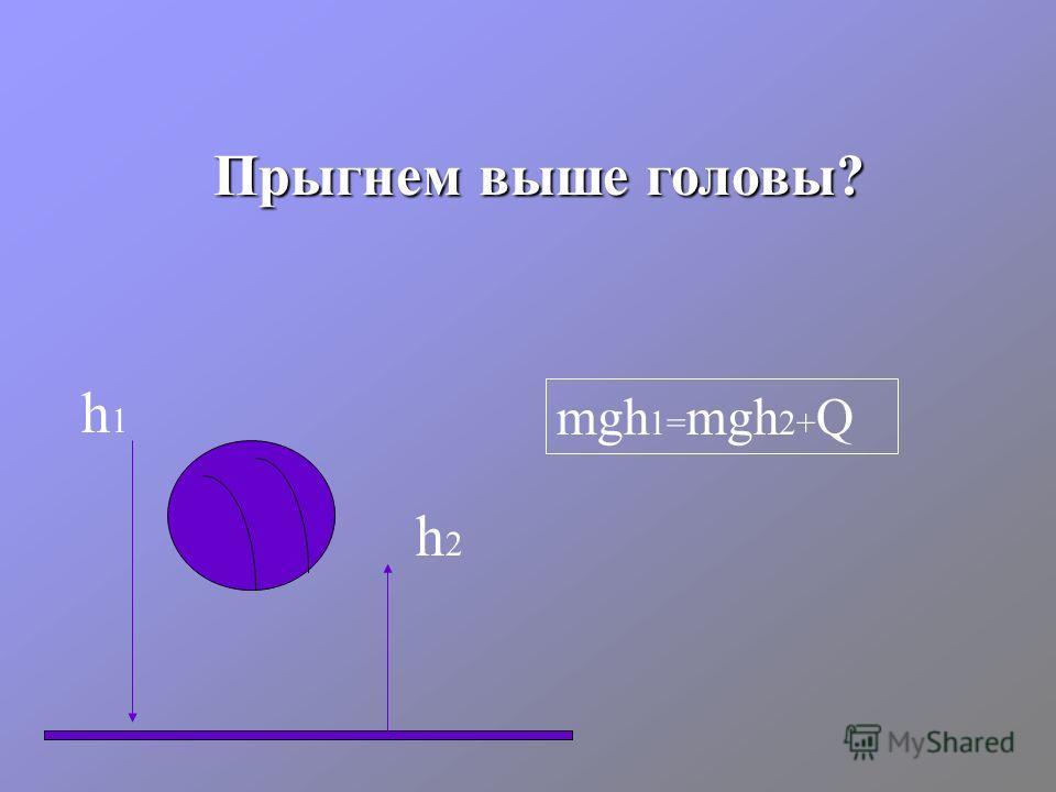 Прыгнем выше головы? h1h1 h2h2 mgh 1= mgh 2+ Q