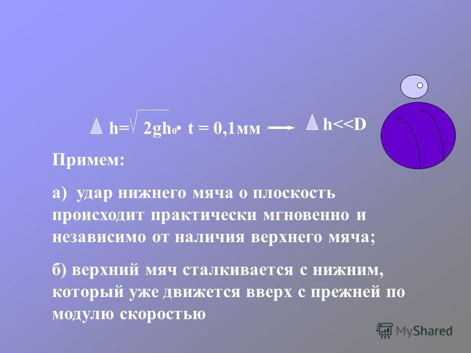 h= 2gh 0 t = 0,1мм h