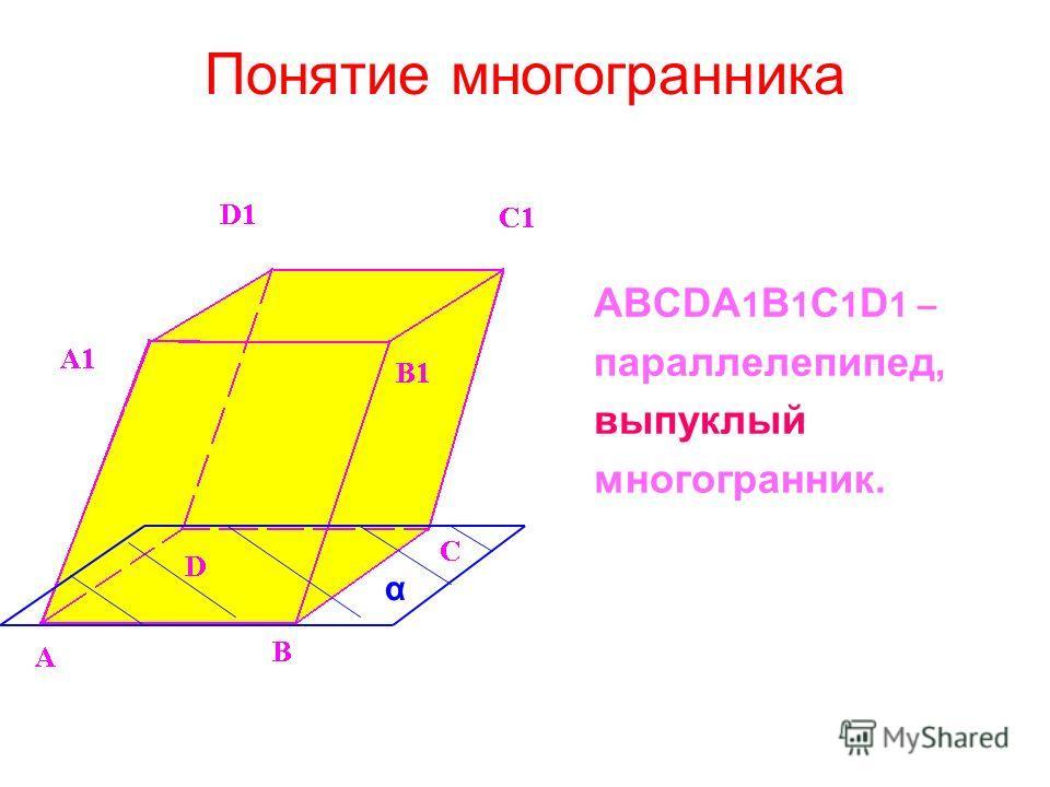 Понятие многогранника ABCDA 1 B 1 C 1 D 1 – параллелепипед, выпуклый многогранник. α