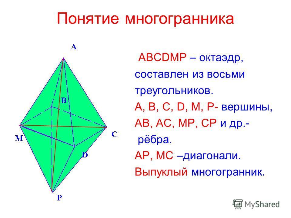 Понятие многогранника ABCDMP – октаэдр, составлен из восьми треугольников. A, B, C, D, M, P- вершины, АВ, АС, МР, СР и др.- рёбра. АР, МС –диагонали. Выпуклый многогранник.