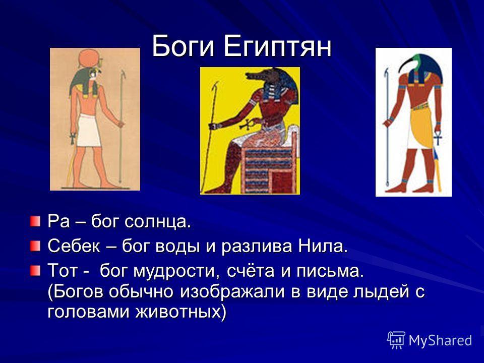 Боги Египтян Ра – бог солнца. Себек – бог воды и разлива Нила. Тот - бог мудрости, счёта и письма. (Богов обычно изображали в виде лыдей с головами животных)