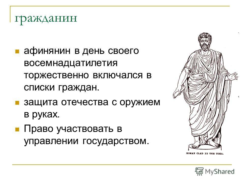 гражданин афинянин в день своего восемнадцатилетия торжественно включался в списки граждан. защита отечества с оружием в руках. Право участвовать в управлении государством.