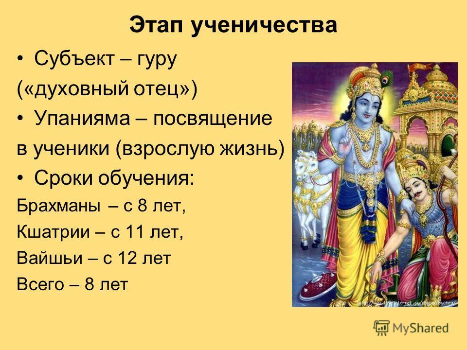 Этап ученичества Субъект – гуру («духовный отец») Упанияма – посвящение в ученики (взрослую жизнь) Сроки обучения: Брахманы – с 8 лет, Кшатрии – с 11 лет, Вайшьи – с 12 лет Всего – 8 лет