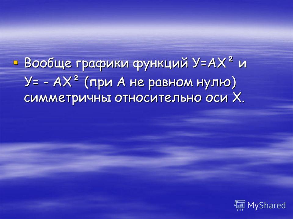 Вообще графики функций У=АХ² и Вообще графики функций У=АХ² и У= - АХ² (при А не равном нулю) симметричны относительно оси Х. У= - АХ² (при А не равном нулю) симметричны относительно оси Х.