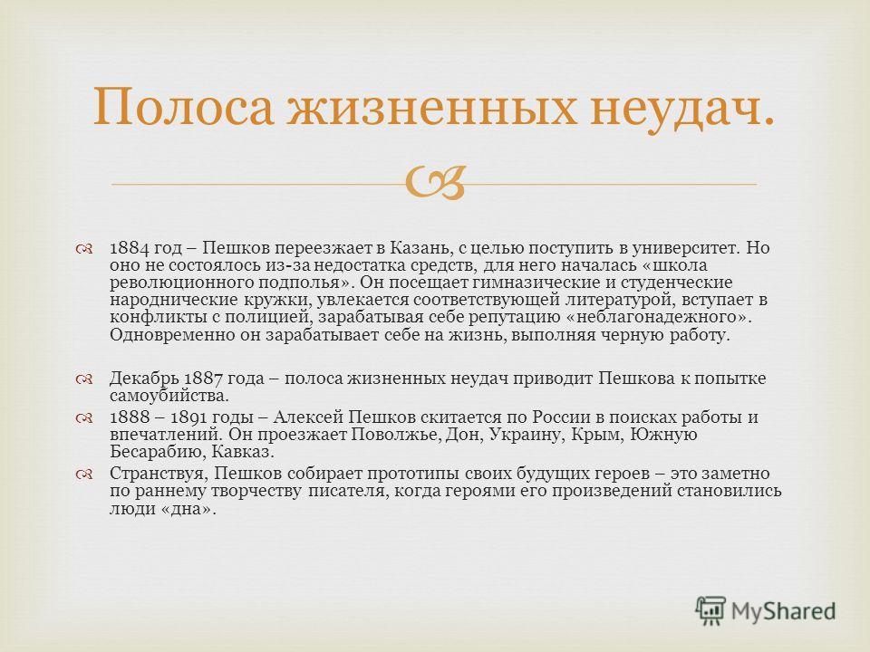 1884 год – Пешков переезжает в Казань, с целью поступить в университет. Но оно не состоялось из-за недостатка средств, для него началась «школа революционного подполья». Он посещает гимназические и студенческие народнические кружки, увлекается соотве