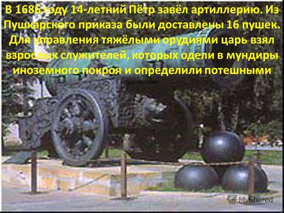 В 1686 году 14-летний Пётр завёл артиллерию. Из Пушкарского приказа были доставлены 16 пушек. Для управления тяжёлыми орудиями царь взял взрослых служителей, которых одели в мундиры иноземного покроя и определили потешными пушкарями.