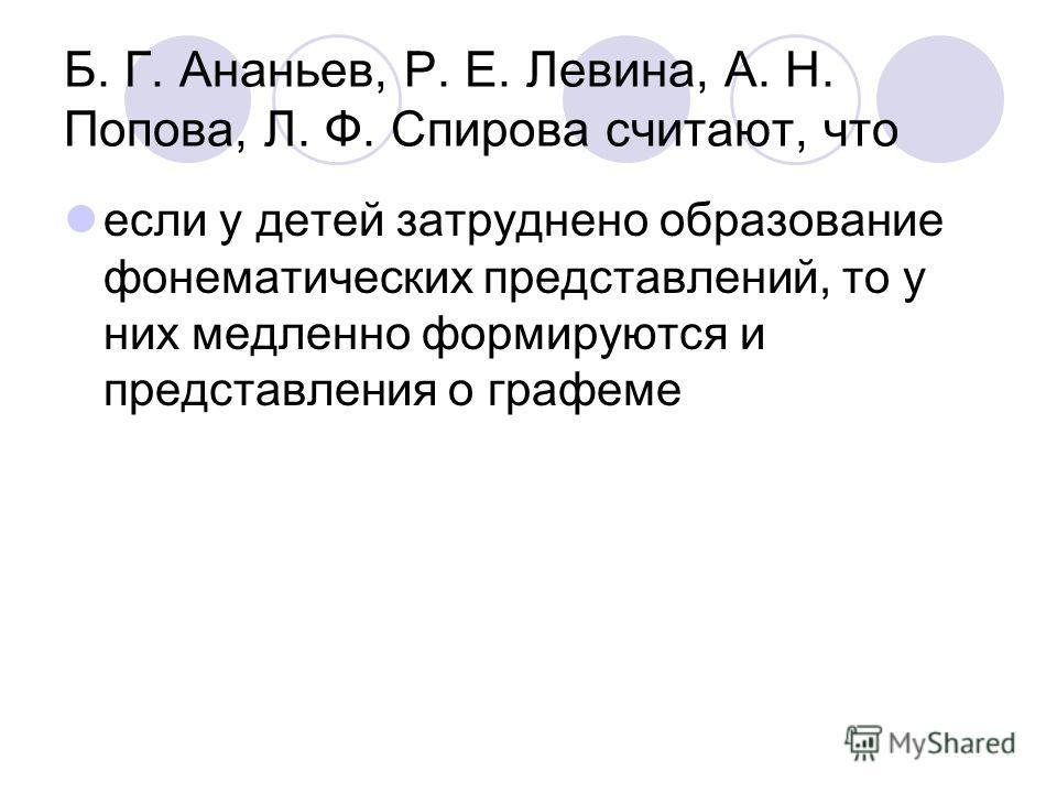 Б. Г. Ананьев, Р. Е. Левина, А. Н. Попова, Л. Ф. Спирова считают, что если у детей затруднено образование фонематических представлений, то у них медленно формируются и представления о графеме
