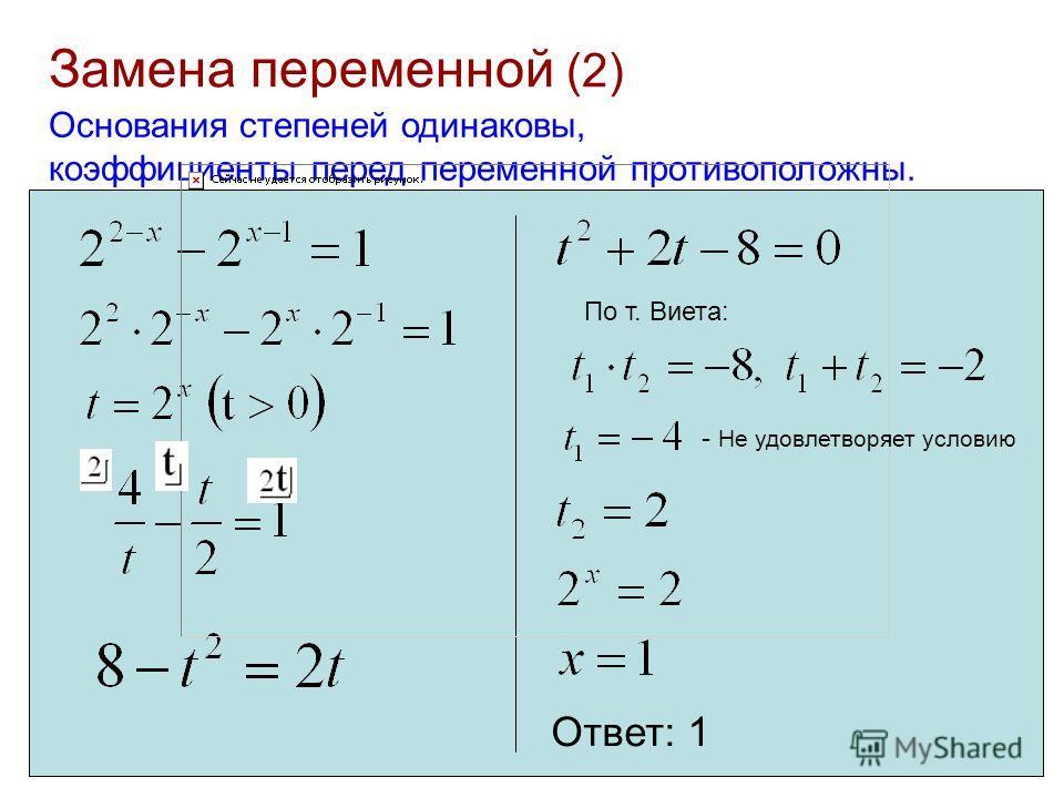 Замена переменной (2) Основания степеней одинаковы, коэффициенты перед переменной противоположны. По т. Виета: - Не удовлетворяет условию Ответ: 1