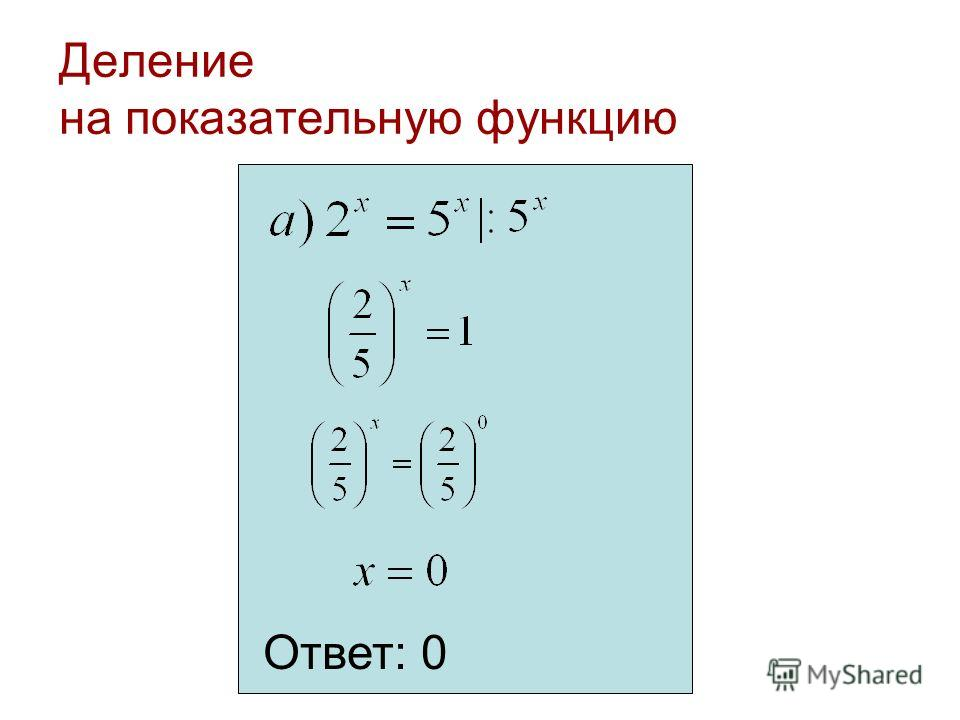 Деление на показательную функцию Ответ: 0