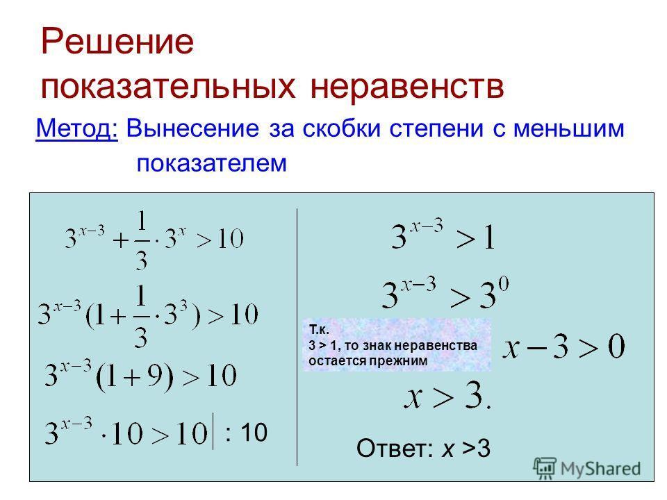 Решение показательных неравенств Метод: Вынесение за скобки степени с меньшим показателем Ответ: х >3 Т.к. 3 > 1, то знак неравенства остается прежним : 10