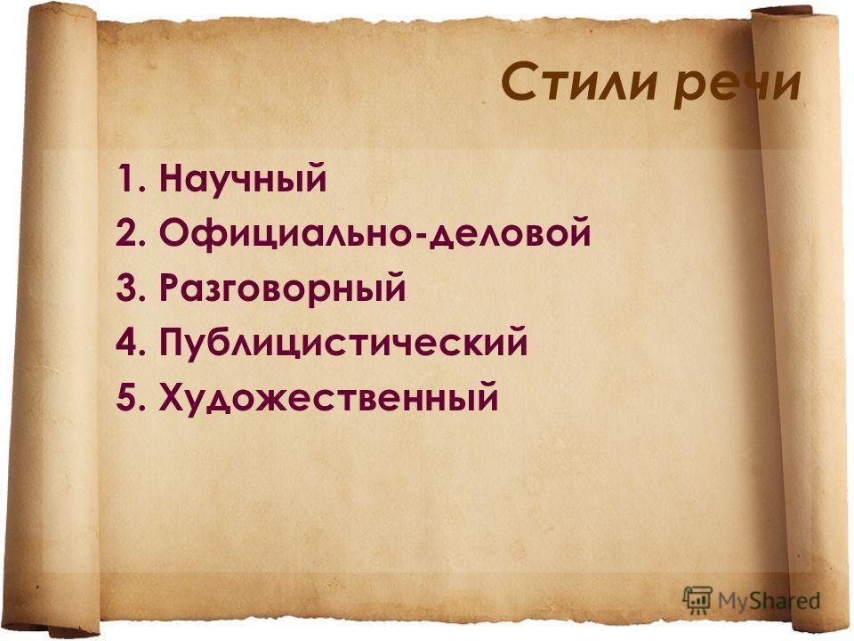Стили речи 1. Научный 2. Официально-деловой 3. Разговорный 4. Публицистический 5. Художественный
