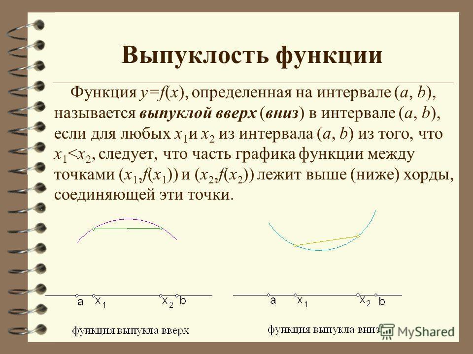 Выпуклость функции Функция у=f(х), определенная на интервале (а, b), называется выпуклой вверх (вниз) в интервале (а, b), если для любых х 1 и х 2 из интервала (а, b) из того, что х 1