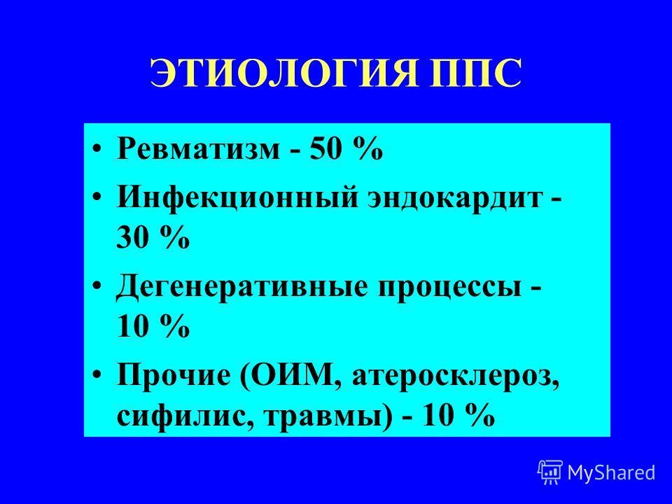 ЭТИОЛОГИЯ ППС Ревматизм - 50 % Инфекционный эндокардит - 30 % Дегенеративные процессы - 10 % Прочие (ОИМ, атеросклероз, сифилис, травмы) - 10 %