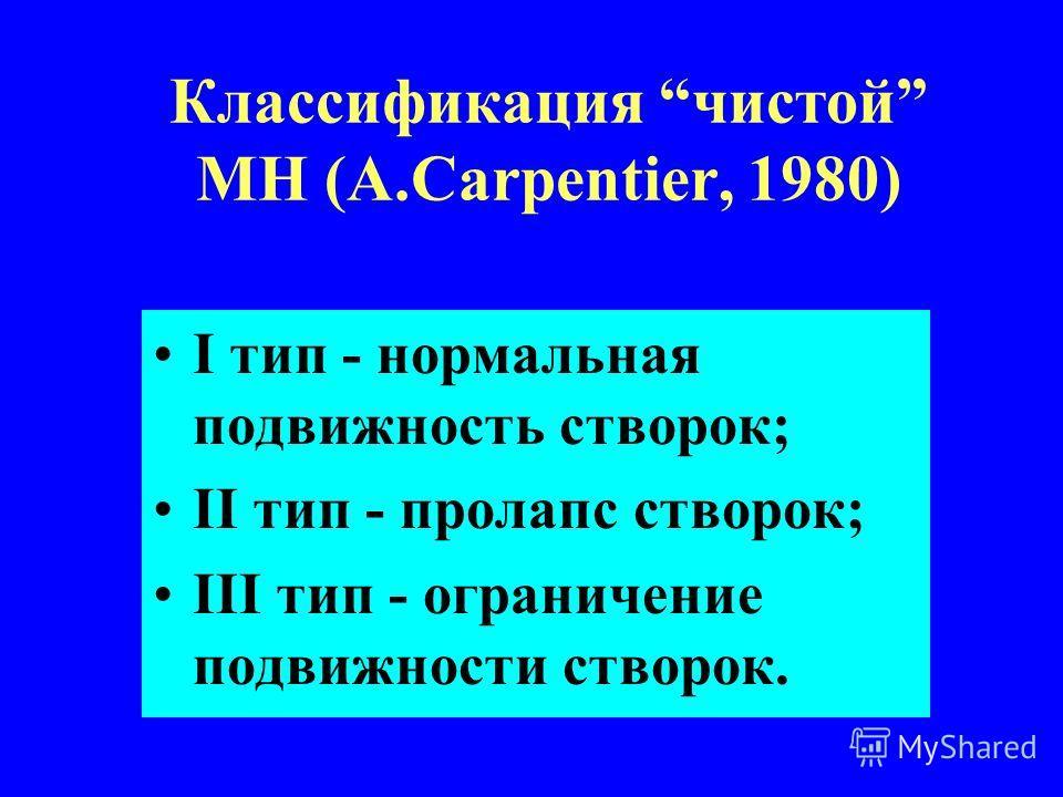 Классификация чистой МН (А.Carpentier, 1980) I тип - нормальная подвижность створок; II тип - пролапс створок; III тип - ограничение подвижности створок.