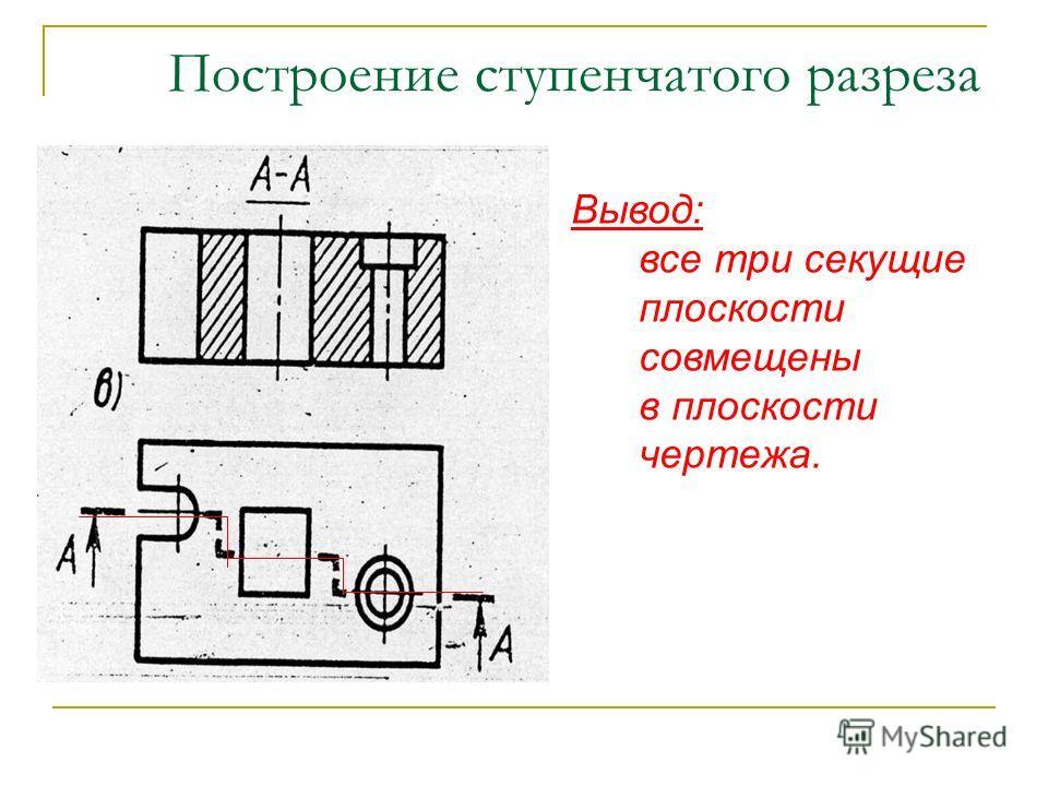 Построение ступенчатого разреза Вывод: все три секущие плоскости совмещены в плоскости чертежа.
