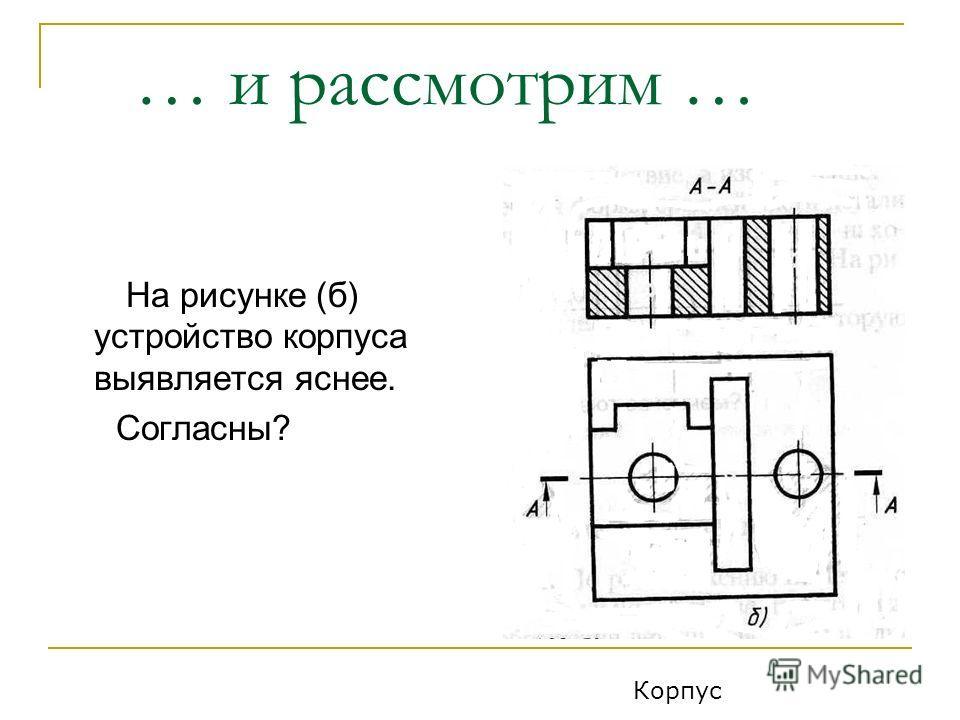 … и рассмотрим … На рисунке (б) устройство корпуса выявляется яснее. Согласны? Корпус
