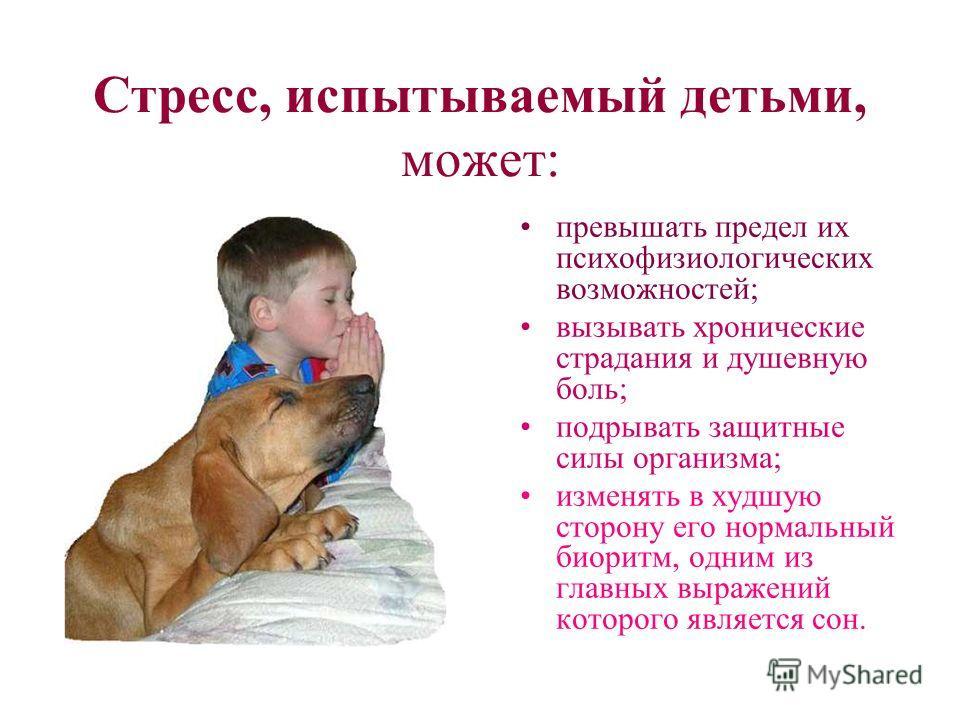 Стресс, испытываемый детьми, может: превышать предел их психофизиологических возможностей; вызывать хронические страдания и душевную боль; подрывать защитные силы организма; изменять в худшую сторону его нормальный биоритм, одним из главных выражений