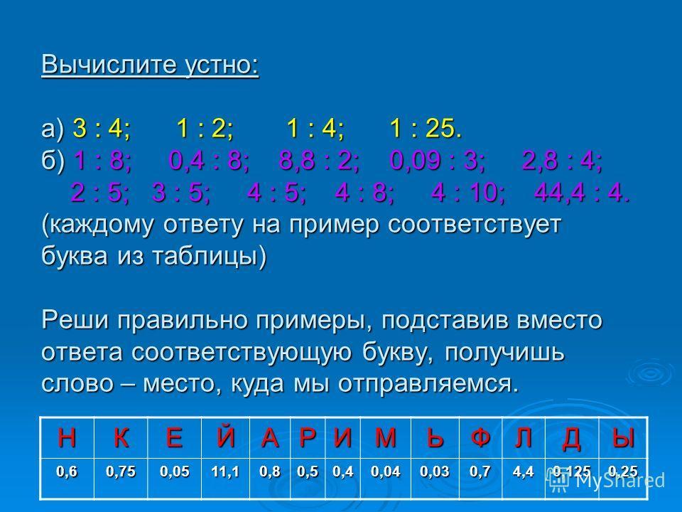 Вычислите устно: а) 3 : 4; 1 : 2; 1 : 4; 1 : 25. б) 1 : 8; 0,4 : 8; 8,8 : 2; 0,09 : 3; 2,8 : 4; 2 : 5; 3 : 5; 4 : 5; 4 : 8; 4 : 10; 44,4 : 4. (каждому ответу на пример соответствует буква из таблицы) Реши правильно примеры, подставив вместо ответа со