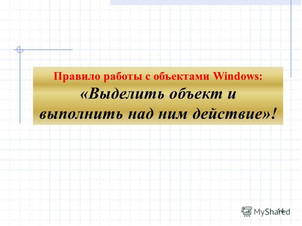 14 Правило работы с объектами Windows: «Выделить объект и выполнить над ним действие»!