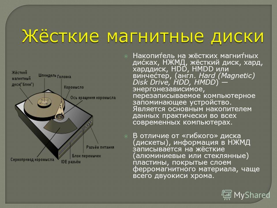 Накопи́тель на жёстких магни́тных ди́сках, НЖМД, жёсткий диск, хард, харддиск, HDD, HMDD или винче́стер, (англ. Hard (Magnetic) Disk Drive, HDD, HMDD) энергонезависимое, перезаписываемое компьютерное запоминающее устройство. Является основным накопит
