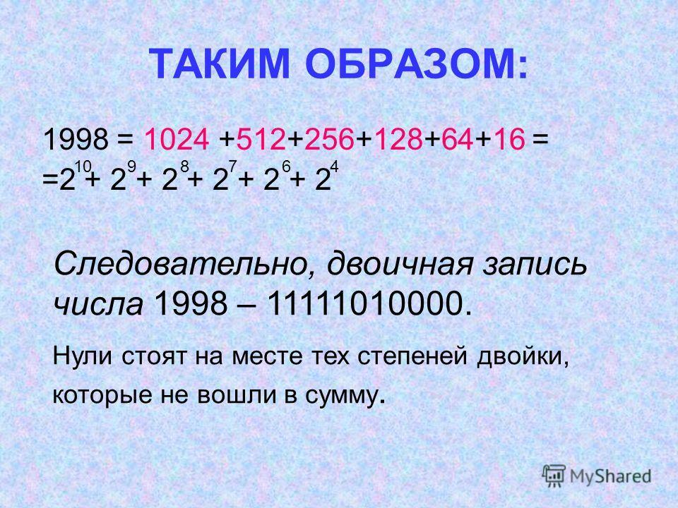 1998 = 1024 +512+256+128+64+16 = =2 + 2 + 2 + 2 + 2 + 2 ТАКИМ ОБРАЗОМ: 1098764 Следовательно, двоичная запись числа 1998 – 11111010000. Нули стоят на месте тех степеней двойки, которые не вошли в сумму.