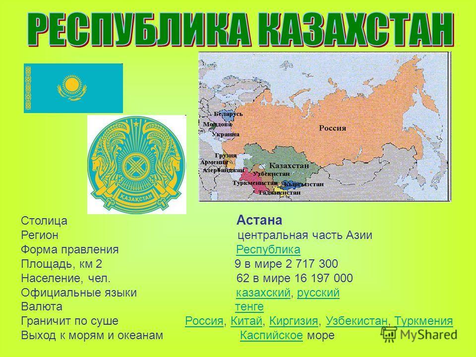 Столица Астана Регион центральная часть Азии Форма правления РеспубликаРеспублика Площадь, км 2 9 в мире 2 717 300 Население, чел. 62 в мире 16 197 000 Официальные языки казахский, русскийказахскийрусский Валюта тенгетенге Граничит по суше Россия, Ки