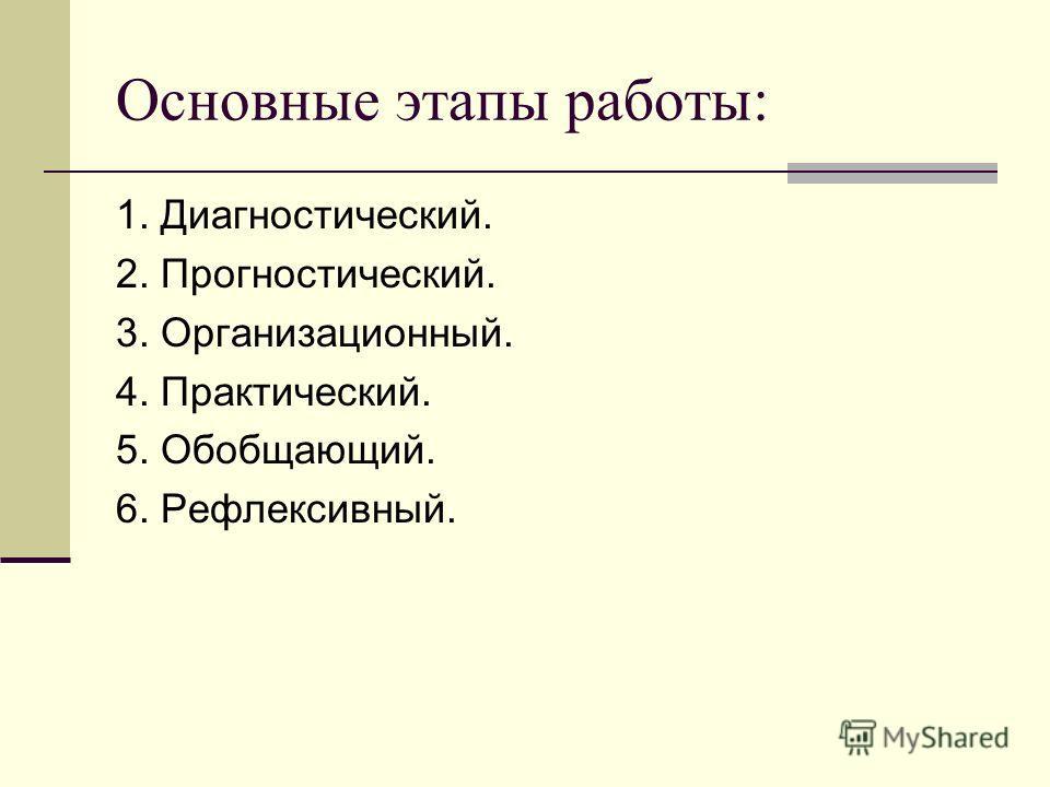 Основные этапы работы: 1. Диагностический. 2. Прогностический. 3. Организационный. 4. Практический. 5. Обобщающий. 6. Рефлексивный.