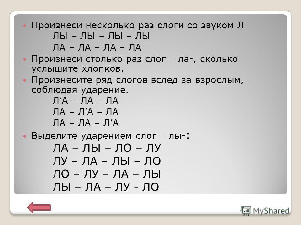 Автоматизация звука В слогах В словах В предложениях В текстах