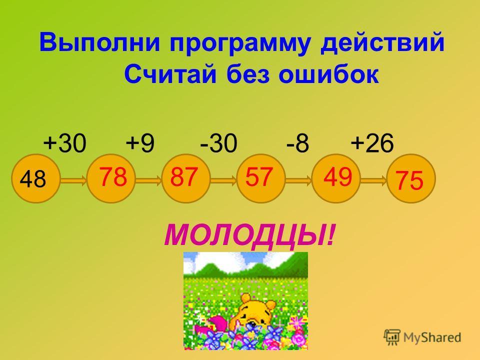 Выполни программу действий Считай без ошибок +30+9-30-8+26 48 78875749 75 МОЛОДЦЫ!