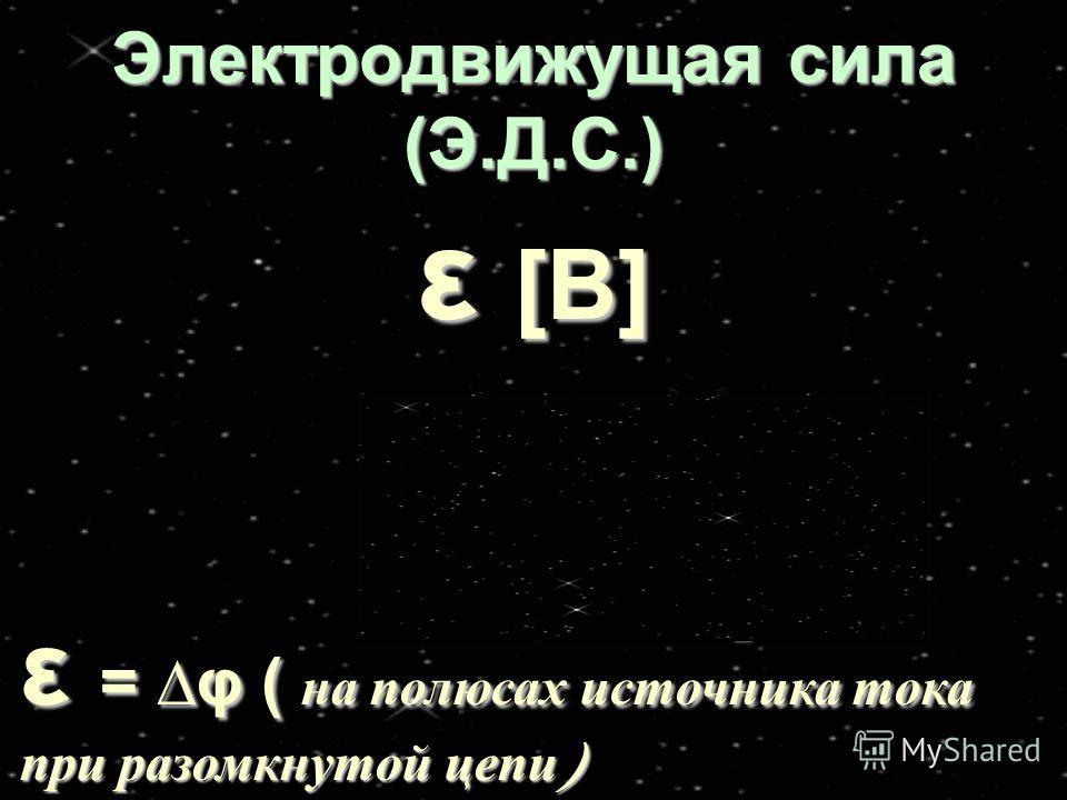 Электродвижущая сила (Э.Д.С.) ε [B] ε =ε =ε =ε = А ст q ε = φ ( на полюсах источника тока при разомкнутой цепи )