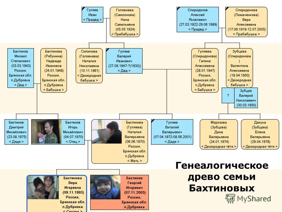 Генеалогическое древо семьи Бахтиновых
