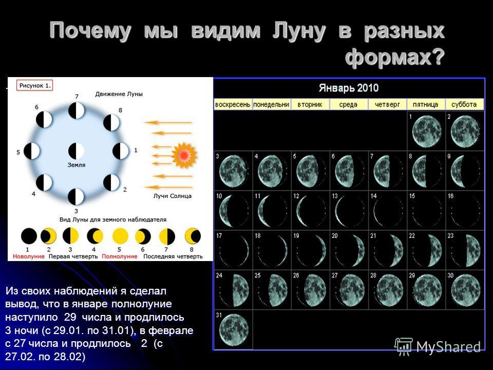 . Почему мы видим Луну в разных формах? Из своих наблюдений я сделал вывод, что в январе полнолуние наступило 29 числа и продлилось 3 ночи (с 29.01. по 31.01), в феврале с 27 числа и продлилось 2 (с 27.02. по 28.02)